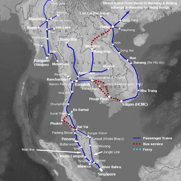Carte Ferroviaire Thailande.Les Trains Et Les Chemins De Fer En Malaisie