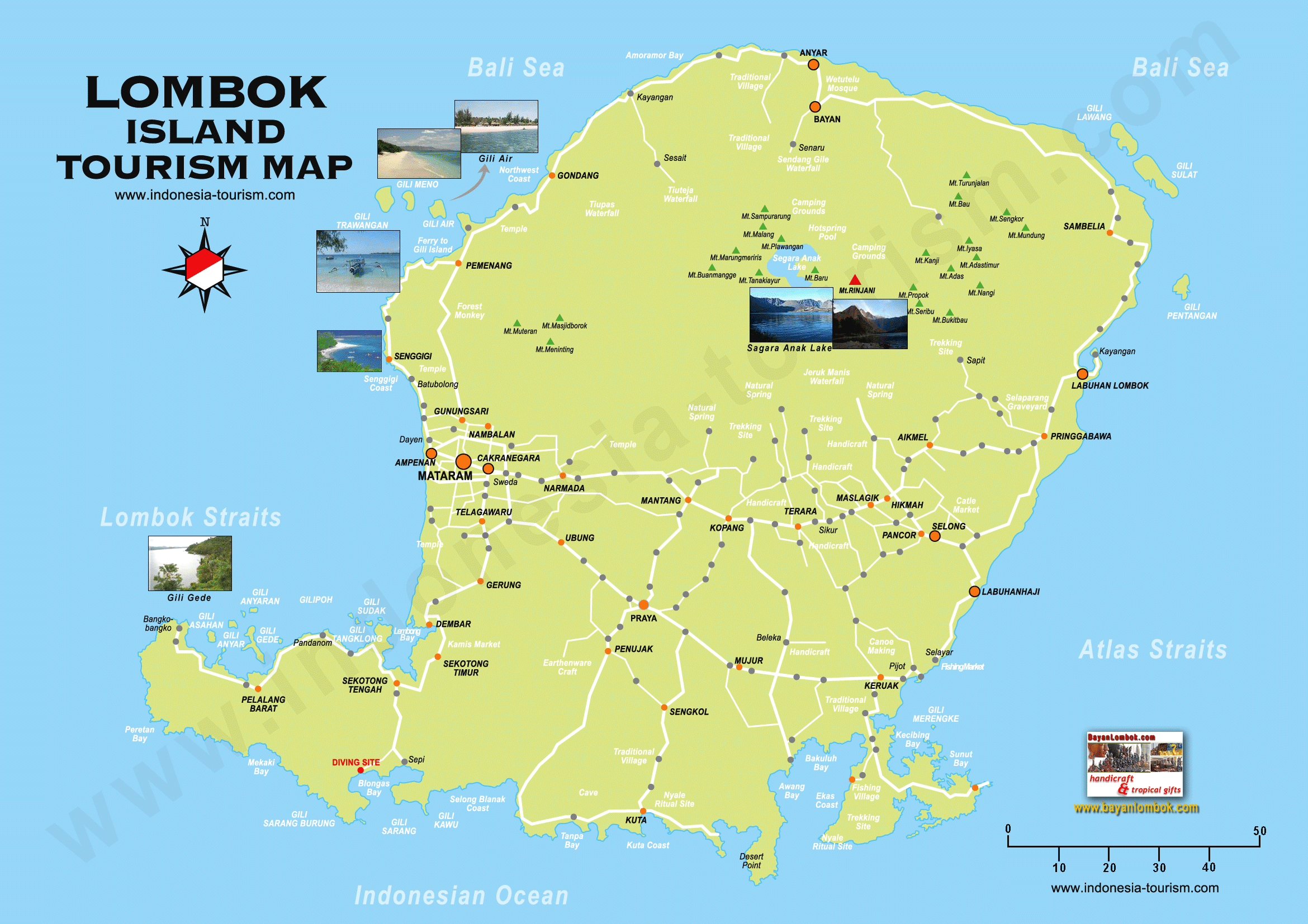 Map Of Lombok Hotels Attractions Districts Transport