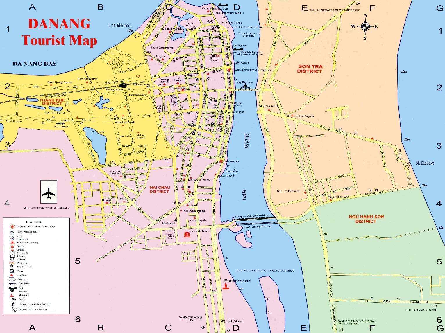 The map of da Nang (Vietnam) with landmarks, districts