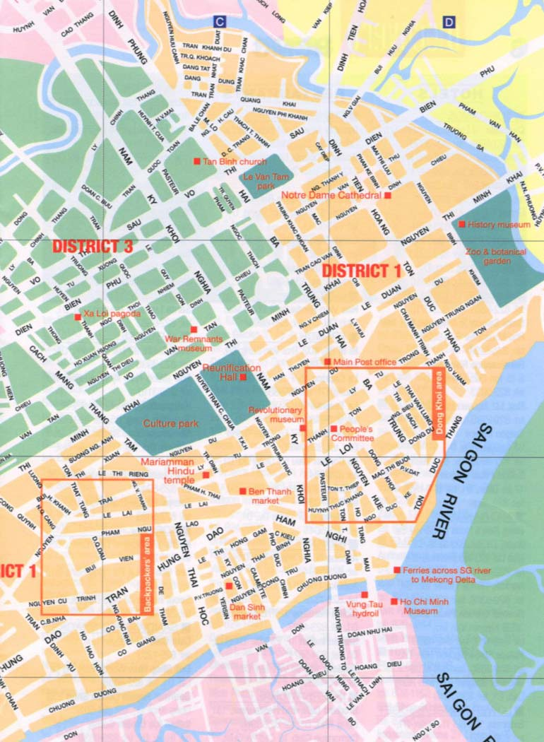 Map of Ho Chi Minh city Saigon with landmarks districts
